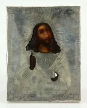 19th C. Antique Russian 84 Silver Icon of Jesus Christ