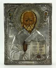 19th C. Antique Russian 84 Silver Icon of St. Nicholas