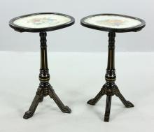 Pr. Victorian Black Lacquer Tables