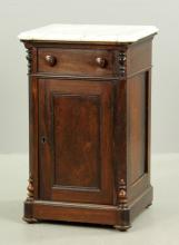 Victorian Marble Top Walnut Bedside Commode