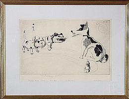 Mielatz, 2 Cats and a Dog, Etching