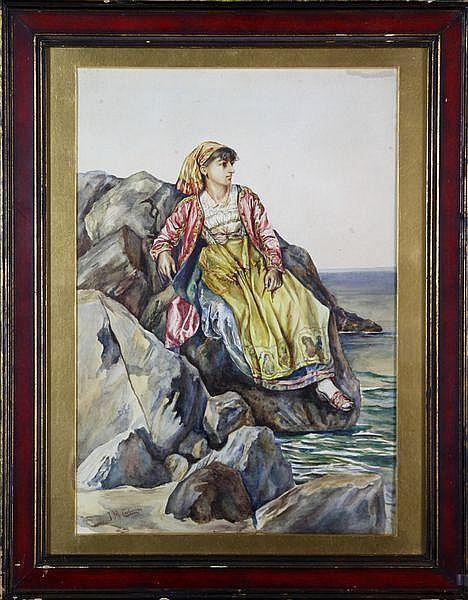 Carbonero, Woman on Rocks, W/C