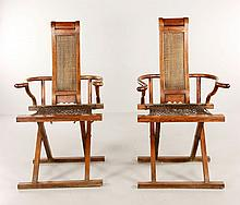 Chinese Pair of W Huanghuali Folding Chairs