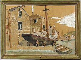 Dorothy Stanley Emmons, repairing ships hull, gouache painting,