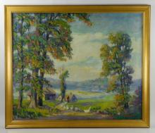 Eppens, Country Scene, Oil on Canvas