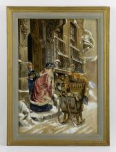 French Scene, Watercolor