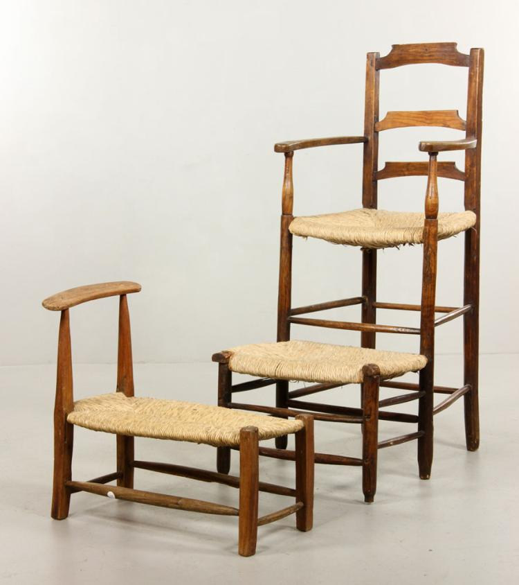 late 18th early 19th c high chair and stool with bench On kaminski furniture