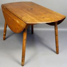 19th C. Country Pine Drop Leaf Table
