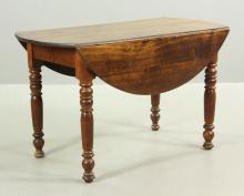 19th C. Mahogany Drop Leaf Dining Table