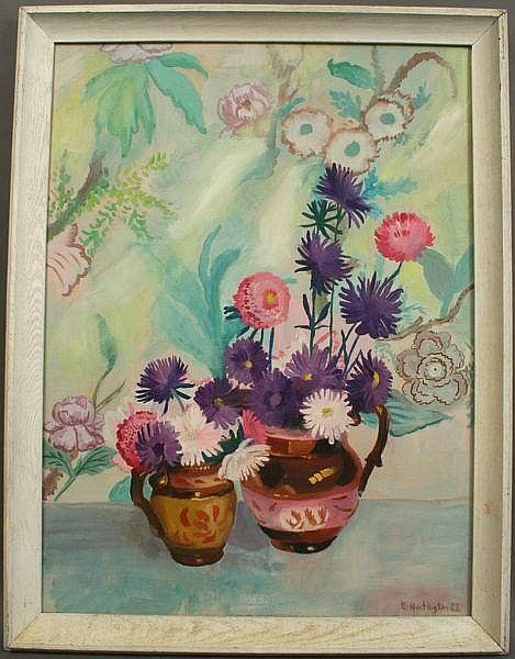 Signed E. Huntington, Still Life Of Asters, o/b