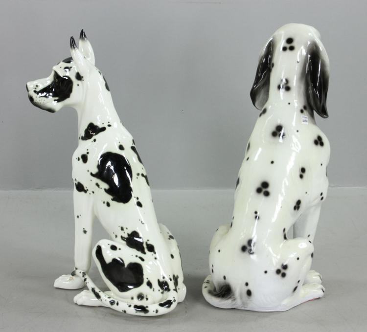 Pr. Large Ceramic Great Dane Dog Sculptures