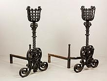 Pr Early Wrought Iron Andirons