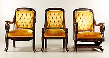 Empire Platform Rocker, Gentleman's and Ladies Side Chair