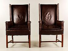 Pr. Leather Upholstered Arm Chairs
