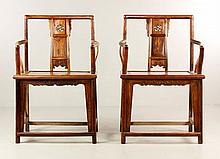 Pr Chinese Huanghuali Wood Arm Chairs