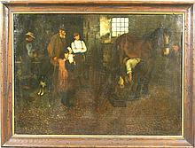 E. Wilberforce, Blacksmith Shoeing Horse, o/c