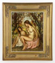 Nivert, Two Girls, Oil on Canvas