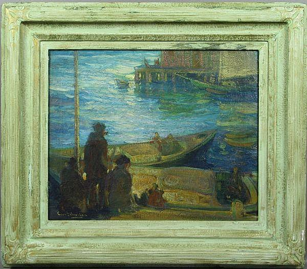 Christian Von Schneidau (America,1893-1976),  Boats Docked at Pier, O/C