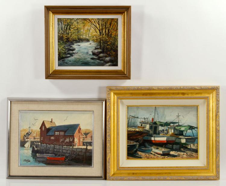 Stoffa, Lot of 3 Paintings, Oil on Board