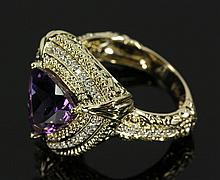 14K Yellow Gold, Diamond and Amethyst Ring