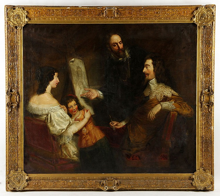 West, Van Dyck with Royal Family, Oil on Canvas