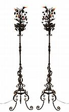 Pr. Wrought Iron Floral Torchiere Style Lamps