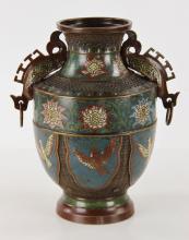 19th C. Japanese Archaic Style Cloisonne Vase