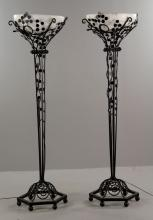 Pr. Art Deco Style Wrought Iron Floor Lamps