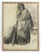 Portrait of an Arab Man, Charcoal