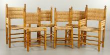 6 Rush Seat Chairs
