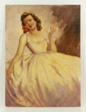 Illustration of a Lady, Oil on Masonite