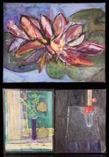 Caro, 3 Floral Still Lifes, Oil on Canvas