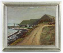 Larsson, Coastal Road, Oil on Board