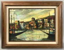 Lafrance, European Harbor Scene, Oil on Canvas