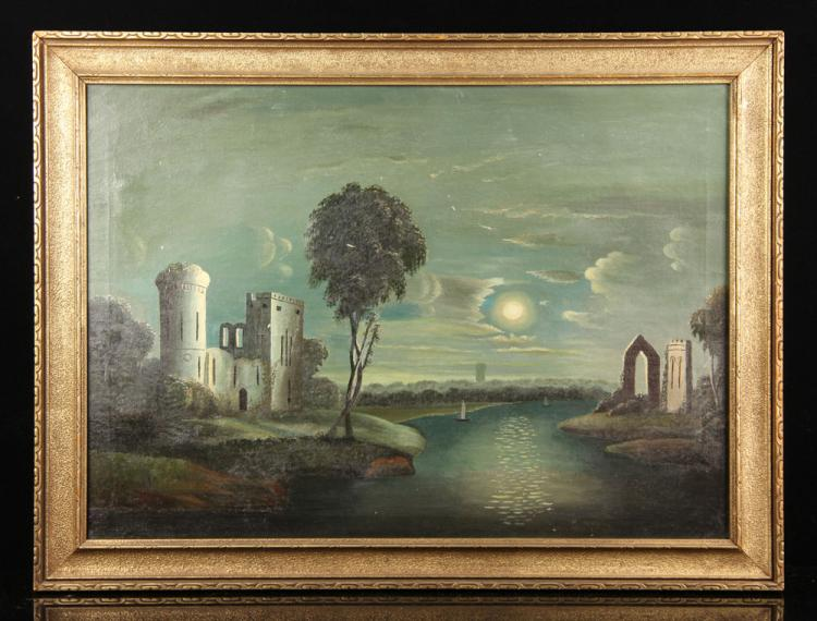 School of Thomas Chambers, Castle Ruins, Oil on Canvas
