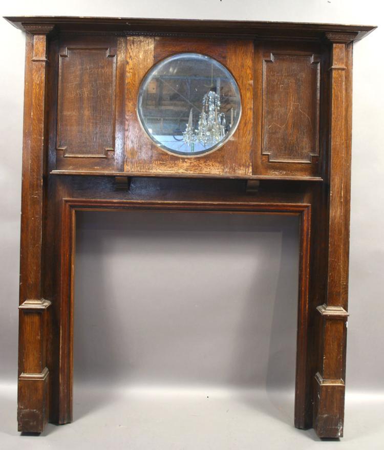19th C. Oak Mantel with Mirror
