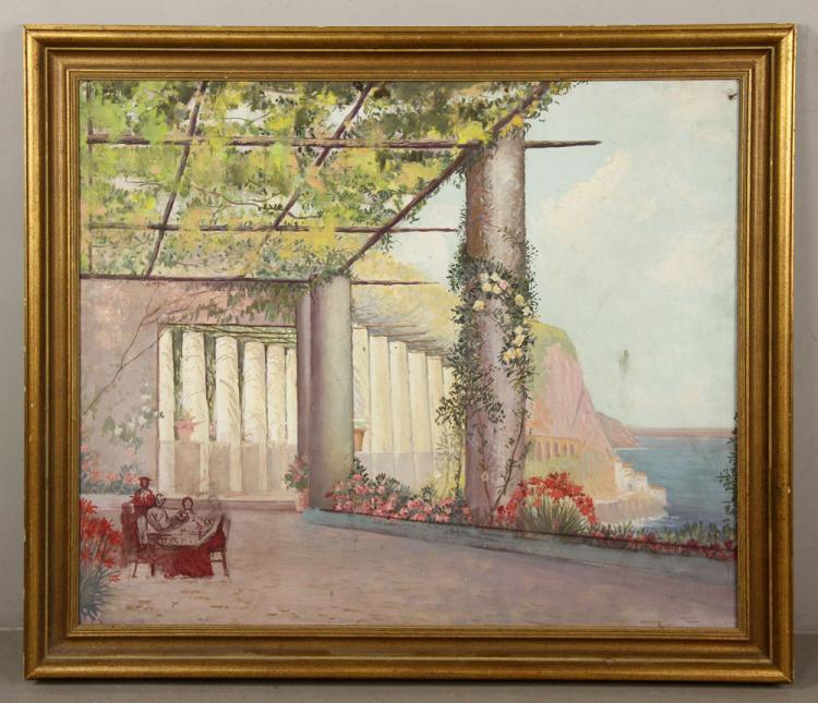 Attr. Castano, Mediterranean Villa, Oil on Canvas