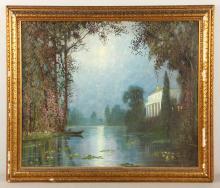 Attr. Castano, Italian Villa in Moonlight, Oil on Canvas