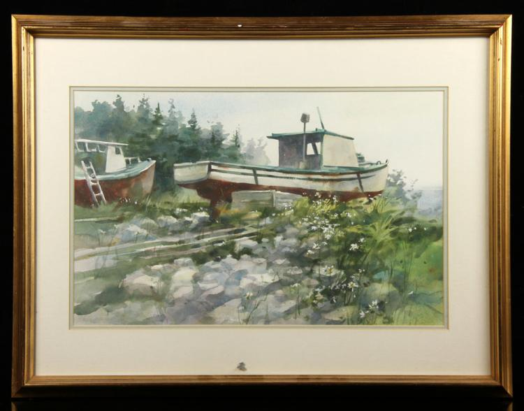 Dry Docked Boat, Watercolor