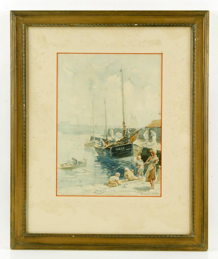 Mallach, Kirkcaldy Harbor, Watercolor