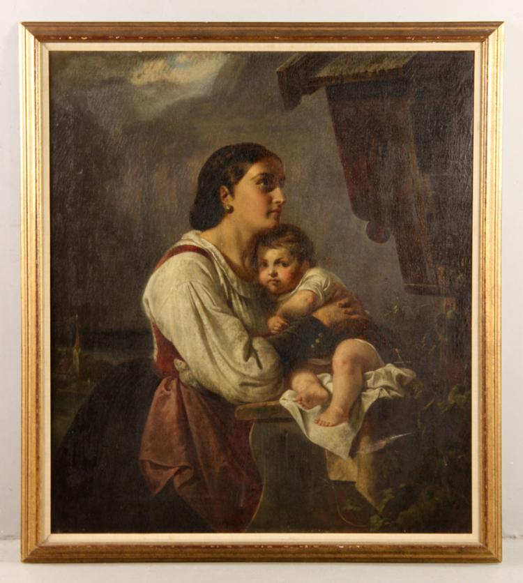 Italian School, Mother and Child, Oil on Canvas