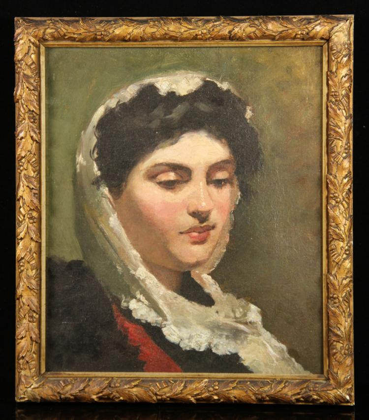 Boston School, Portrait of a Lady, Oil on Canvas