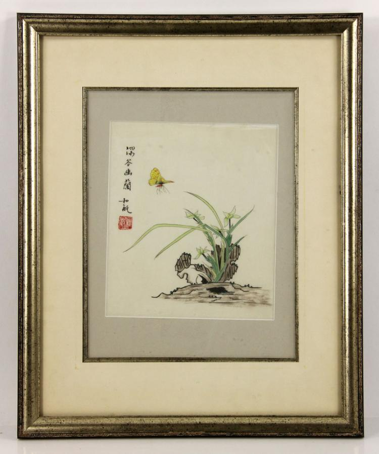 Chinese, Butterfly with Grass, Watercolor