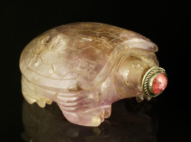 19th C. Chinese Amethyst Quartz Snuff Bottle