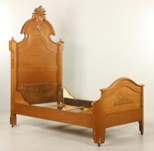 Victorian Carved Walnut Bed