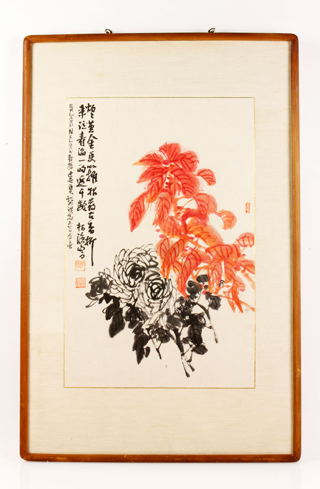Chinese Scroll, Floral, Watercolor