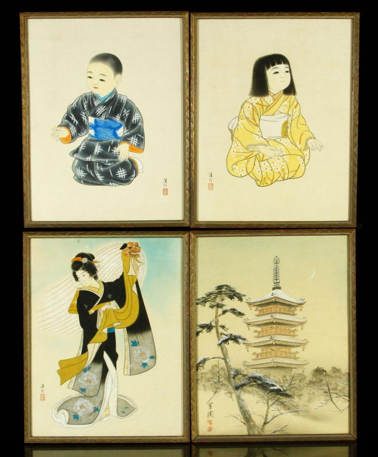 4 Asian Drawings on Silk