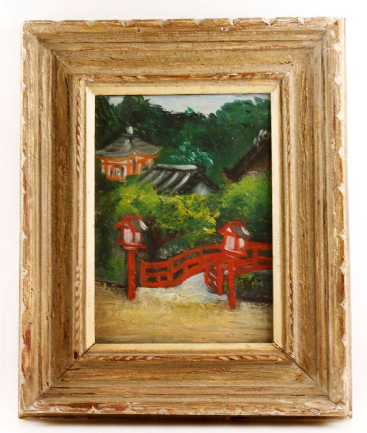 Japanese School, Pagoda and Path, Oil on Canvas