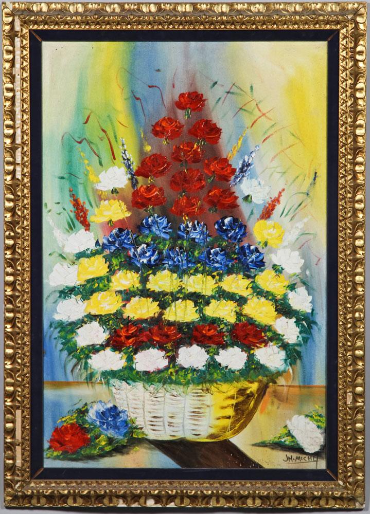 20th C. Floral Still Life, Oil on Canvas