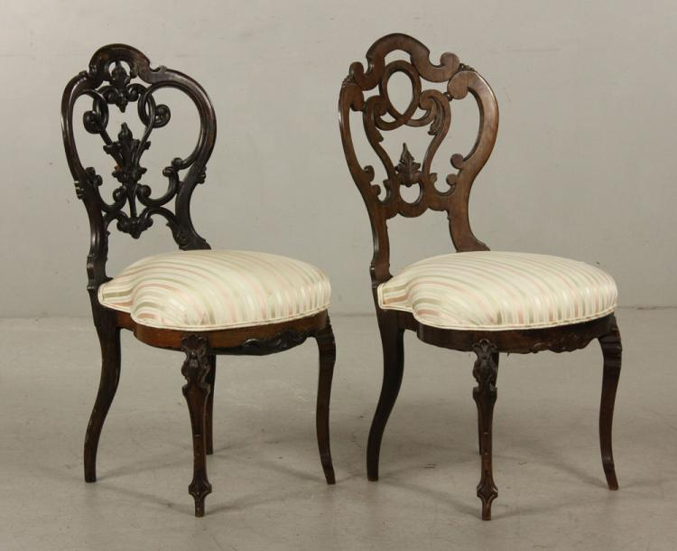 Pr. 19th C. Belter Rosewood Chairs
